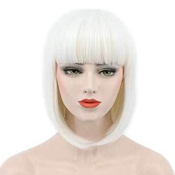 Karlery Women Short Straight Bob Fasion Wig Flat Bangs Cosplay Party Wig Costume Halloween Wig