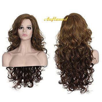 AmorWig Brown Curly Wig- Long Charming Body Wave Brown Synthetic Hair Wigs for Women