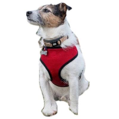 Medex 2 Layer Adjustable Added Dog Friendly Vest Harness By Animal Heaven-Color Red- Size LARGE