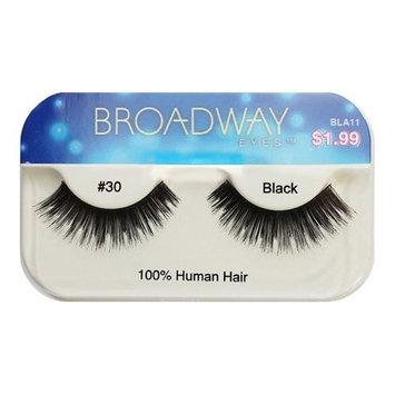 Broadway Eyes False Strip Eyelashes 100% Human Hair Black #30, BLA11