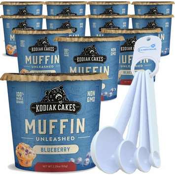Kodiak Cakes Instant Muffing Cup Blueberry - 12 Cups - Bundle with a Lumintrail Measuring Spoon Set