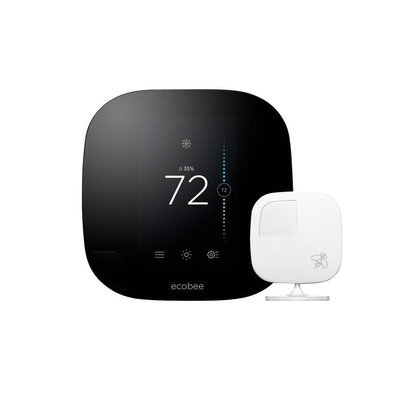 Ecobee - Ecobee3 Programmable Touch-screen Wi-fi Thermostat - Black/white