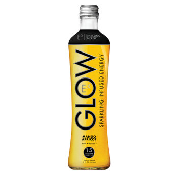 GLOW Beverages Sparkling Infused Energy - 8 Pack 12oz Glass Bottle - Mango Apricot