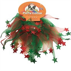 Charming Pet Products Holiday Party Collar Xmas Red Green Stars Small (10