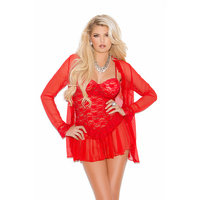 Elegant Moments 3 Piece Lace Babydoll Set with G-String and Mesh Jacket