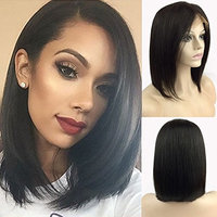 S-noilite 100% Brazilian Remy Human Hair Wig Glueless Lace Front Bob Wigs Medium Short Straight Pre Plucked Natural Hairline with Baby Hair for Women 130% Density(1B Black,10inch,Side Part)
