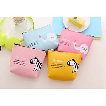 Ladies Small UP Leather Purse Bags Travel Cases for Beauty Makeup Supplies Changes Credit Card ID Pouch Wallet Gift AOSTEK(TM) (Yellow)