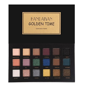 Roysberry EyeShadow, 18 Shiny Matte Colors, Beauty Rainbow Powder Shimmer Metallic Long-lasting Lady Makeup Golden Color Round Colorful Eye Shadow Beauty Glazed