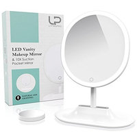 LivingPro Vanity Makeup Mirror with Upgraded Anti-Glare LED Lighting Controlled by Dimmable Touch Screen Sensor with 10X Spot Mirror for Details