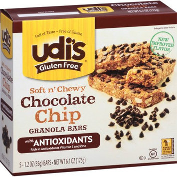 Boulder Brands Udi's Gluten Free Soft n' Chewy Chocolate Chip Granola Bars, 1.2 oz, 5 count
