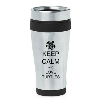 Black 16oz Insulated Stainless Steel Travel Mug Z458 Keep Calm and Love Turtles,MIP