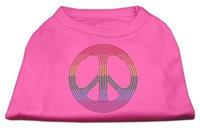 Mirage Pet Products 5270 MDBPK Rhinestone Rainbow Peace Sign Shirts Bright Pink M 12