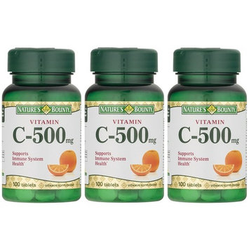 Vitamin C 500 Mg Dietary Supplement Tablets, By Natures Bounty, 300 Tablets (3 X 100 Count Bottles)