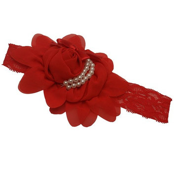 Girls Red Pearl Lace Bow Attached Flowery Stretchy Headband