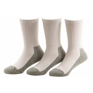 Stride Rite Boy's 3-Pairs White/Grey Comfort Seam Crew Socks Sz: 8-9.5 Fits 13-4