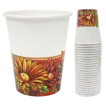 Hanna K Signature 2184908 9 oz Floral Art Paper Hot-Cold Cup - Pack of 36 & 24 per Pack