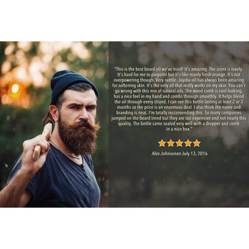 Beard Oil by Kave, Softens Beard, Stops Itching, 100% Natural, Free Bonus Comb