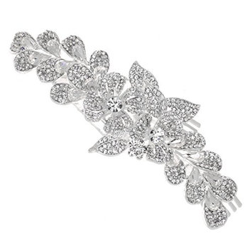 Floral Design Rhinestones Crystal Bridal Wedding Side Hair Comb T1082