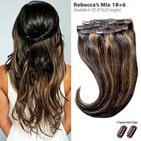 Rebecca's Mix (1B+6) Clip in Hair Extensions - 100% Remy Human Hair by Estelle's Secret, 22