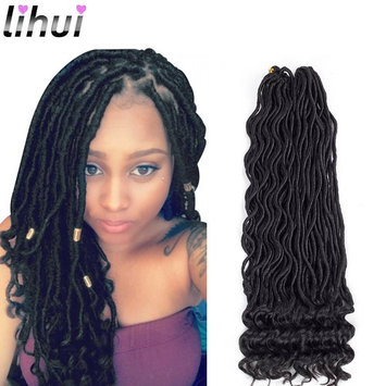 """Lihui 6Pcs/Lot Goddess Faux Locs Curly Faux Locs Crochet Hair Wavy Faux Locs with Curly Ends Synthetic Braiding Hair Extension (20"""",#1B Color)"""