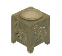 Om Nagchampa Om Design Elephant Square Stone Oil Burner Diffuser 3' Tea Light Candles SD235