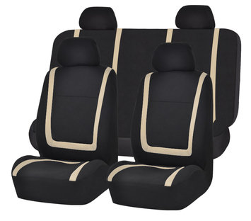 Car Seat Covers Beige Black Set for Auto w/Head Rests, Tissue Dispenser