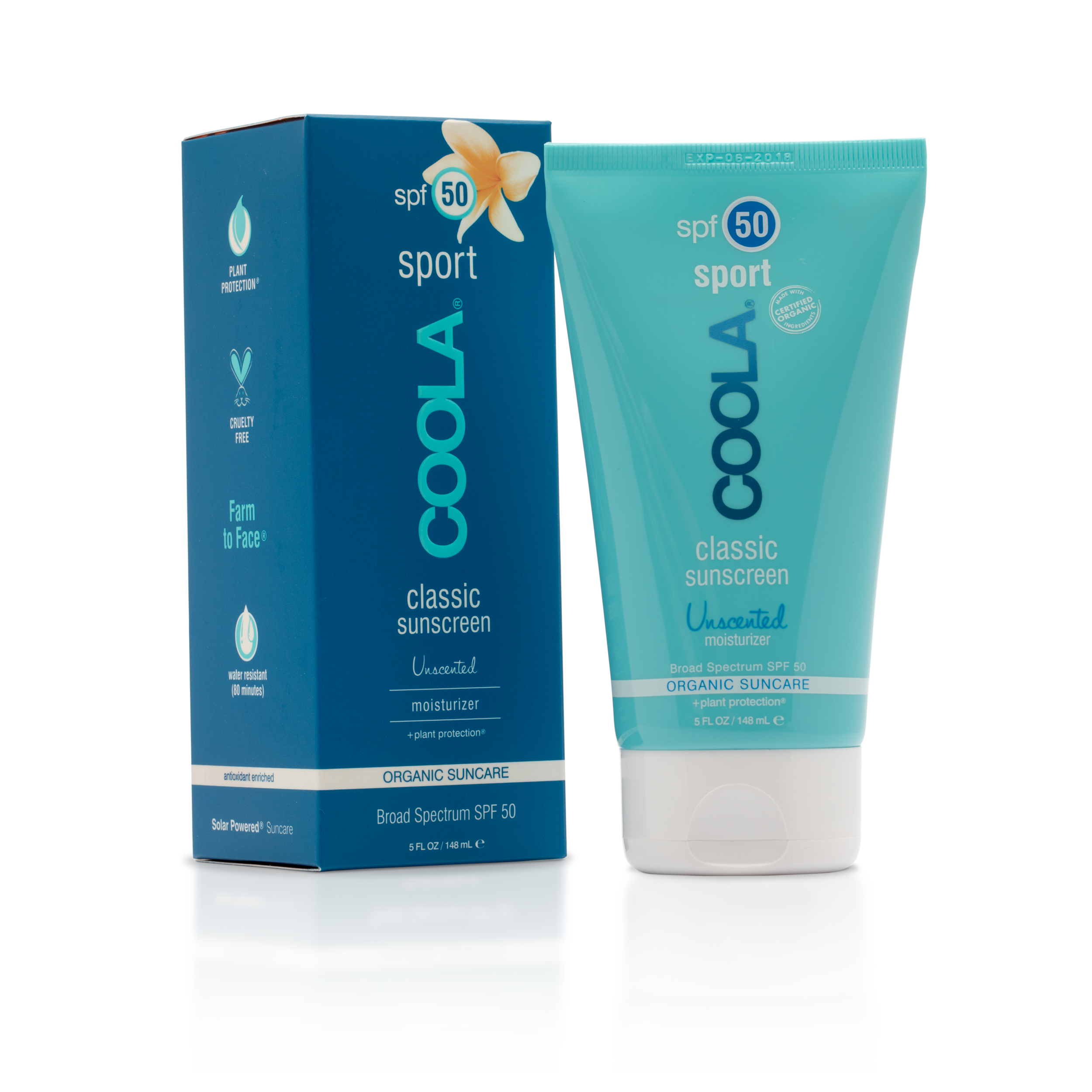 COOLA Sport Body SPF 50 Unscented Organic Sunscreen Lotion