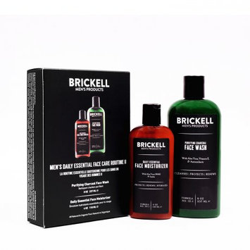 Brickell Men's Products Brickell Men's Daily Essential Face Care Routine II, Charcoal Facial Cleanser & Face Moisturizer Lotion, 2 Ct