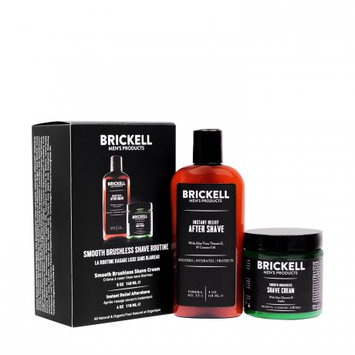 Brickell Men's Products Brickell Men's Smooth Brushless Shave Routine, Shave Cream & Aftershave, 2 Ct
