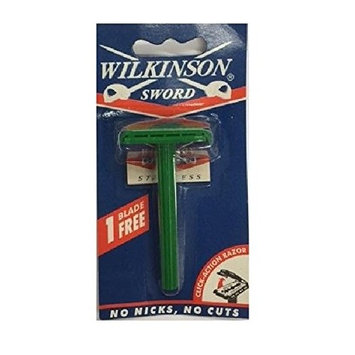 Wilkinson Sword Double Edge Click Safety Razor (Green) + FREE Travel Toothbrush, Color May Vary