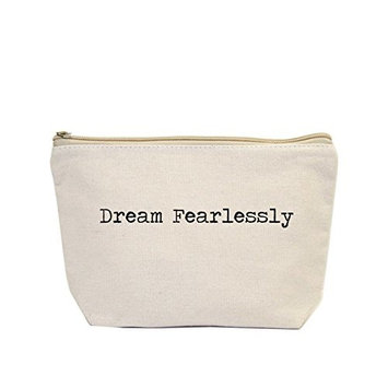 Jules Small Natural Canvas Zipper Bag Dream Fearlessly