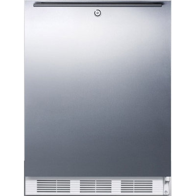 SUMMIT Built-in undercounter refrigerator with lock, stainless steel door, and horizontal handle