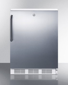 SUMMIT Built-in refrigerator-freezer with cycle defrost, front lock, stainless steel door, TB handle