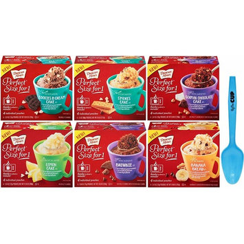 Duncan Hines Perfect Size for 1 Variety Pack - 1 box each of Cookies & Cream, Smores Cake, German Chocolate, Lemon Cake, Brownie, Banana Bread - with Limited Edition By The Cup Spoon