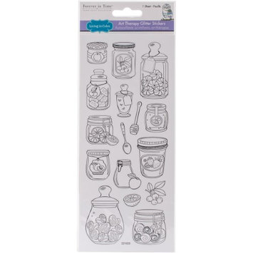 Multicraft Imports SS620-K 4 x 9 in. Living In Color Glittered Art Therapy Stickers - Mason Jar