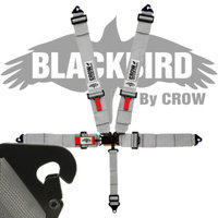 Crow Black Bird Quick Release Grey Seat Belt 3 Inch Lap 3 Inch Shoulders 5 Point Clip In Style