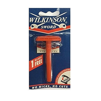 Wilkinson Sword Double Edge Click Safety Razor (Red) + FREE Assorted Purse Kit/Cosmetic Bag Bonus Gift
