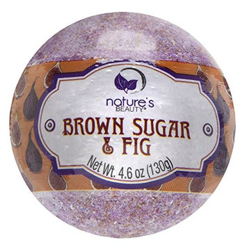Nature's Beauty Brown Sugar & Fig BATH BOMB, 4.6 Oz, Spa Bomb Fizzies, Silky Buttery Soft Skin, Non-staining, Natural Ingredients, Hand Crafted, Best Gift for Girlfriends, Women, Moms