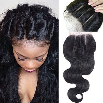 Coco's Hair 3 Way Part Lace Closure(44) with Baby Hair Peruvian Virgin Hair Body Wave Human Hair Top Lace Closure Bleached Knots Natural Color 18inch
