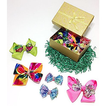 Sparkly Sequin & Rhinestone Fancy Hair Bow Clips Gift Set for Girls (Green, Pink, Orange & Tie Dye)