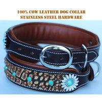 Rhinestone Dog Puppy Collar Crystal Western Cow Leather 6028CO85