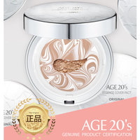 Age 20's Compact Foundation Premium Makeup, Case + 1 Refill - Pink Latte Essence Cover Pact SPF50+ (Made in Korea) - White/Nude Beige (Color 21)