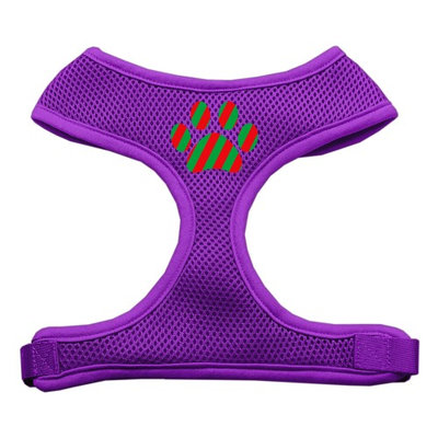 Mirage Pet Products 7007 MDPR Christmas Paw Screen Print Soft Mesh Harness Purple Medium