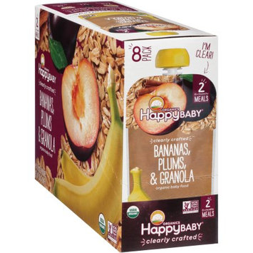 Happy Family Happy Baby Stage 2 Clearly Crafted Meals, Banana Plums & Granola - 4 oz pouch (pack of 8)
