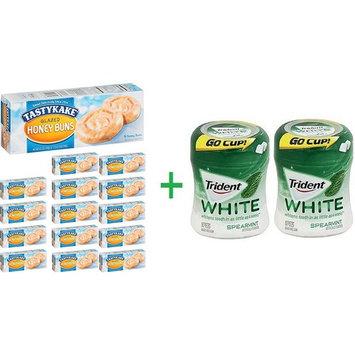 Tastykake Glazed Honey Buns, 10.5 OZ (15 Packs) + 2 Trident Go Cup Spearmint 1/60 Count (BUNDLE)