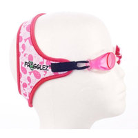 Frogglez Comfort Kids Swimming Goggles with Custom Fit Neoprene Straps, Unisex, Ages 3-12, Pink Whale Pattern