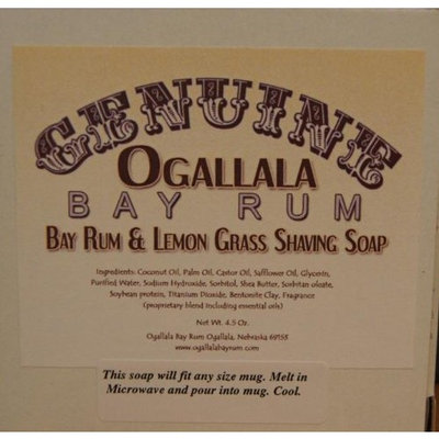 Two (2) Genuine Ogallala Bay Rum, Bay Rum & Lemon Grass Shaving Soap - Each Puck 4.5 oz