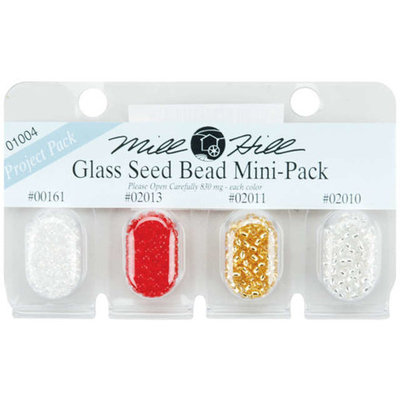 Mill Hill Glass Seed Beads Mini Packs 2.5mm 830mg 4/Pkg-00161, 02013, 02011 & 02010