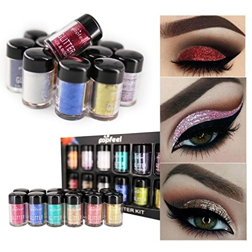 LtrottedJ 12Pcs Shimmer Glitter Eye Shadow ,Powder Palette Matte Eyeshadow Cosmetic Makeup