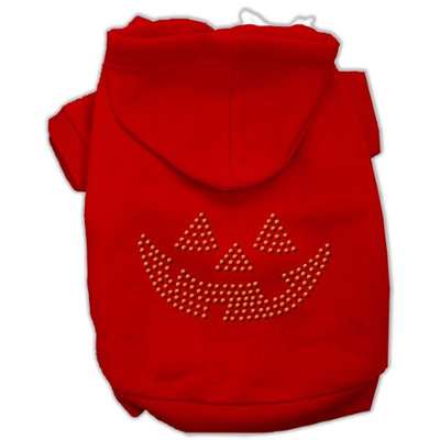 Mirage Pet Products 541302 SMRD Jack O Lantern Rhinestone Hoodies Red S 10